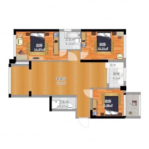 时代尊品3室2厅2卫1厨111.00㎡户型图