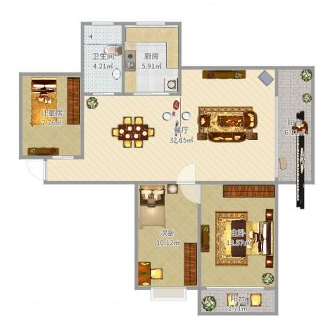 嘉禾颐苑3室1厅1卫1厨102.00㎡户型图