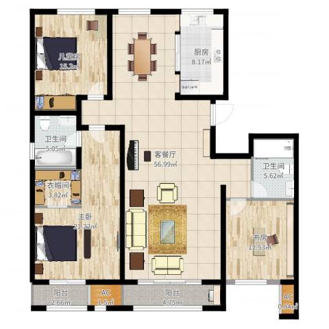 新华联雅园3室2厅2卫1厨173.00㎡户型图