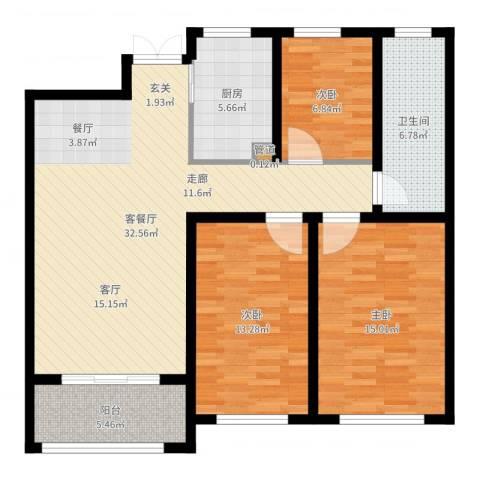 中房颐园3室2厅1卫1厨107.00㎡户型图