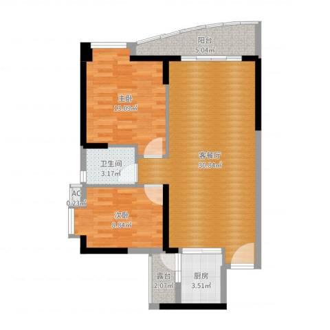 晟大海湾城2室2厅1卫1厨83.00㎡户型图