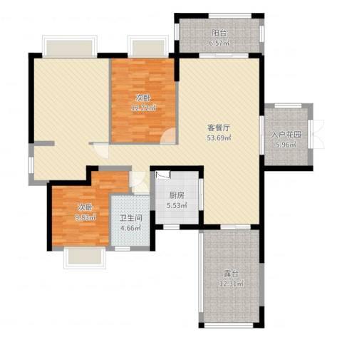 华美美立方2室2厅1卫1厨139.00㎡户型图
