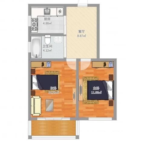 龙南七村2室1厅1卫1厨59.00㎡户型图
