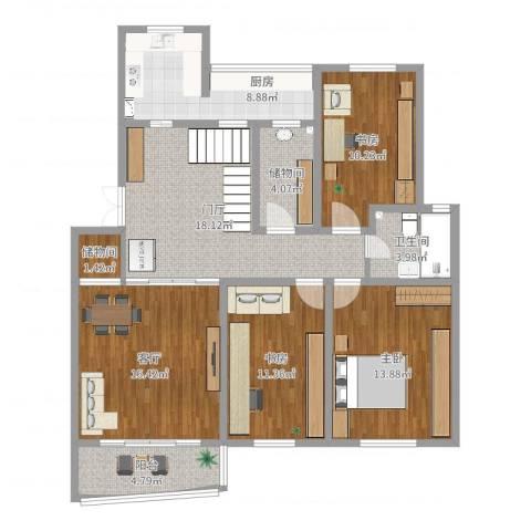 天安河滨花园3室1厅1卫1厨116.00㎡户型图