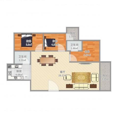富湾新村3室1厅2卫1厨71.00㎡户型图