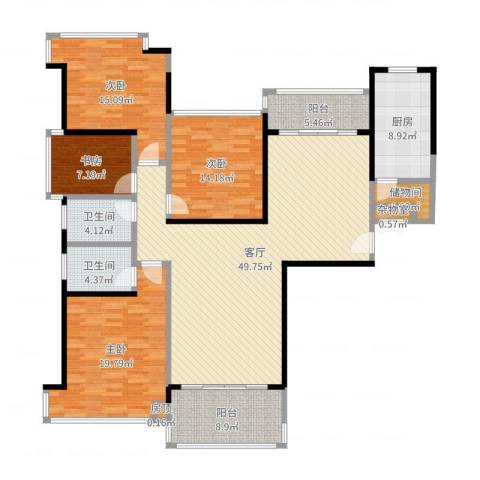 恒大绿洲4室1厅2卫1厨140.49㎡户型图