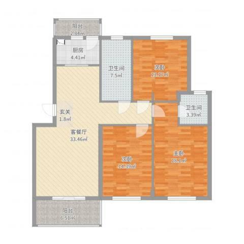 锦隆・时代华庭3室2厅2卫1厨130.00㎡户型图