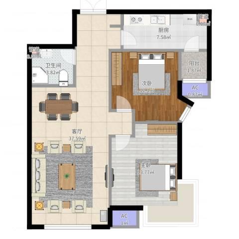 天津富力湾2室1厅1卫1厨99.00㎡户型图