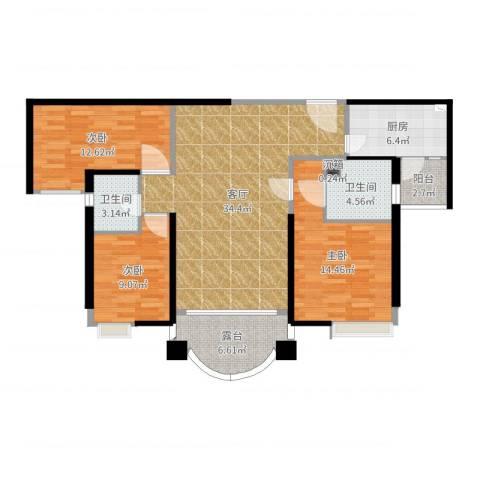 合生滨海城3室1厅2卫1厨118.00㎡户型图