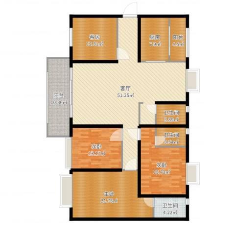 嘉逸园3室1厅4卫1厨186.00㎡户型图