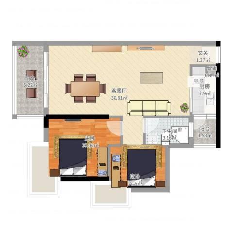 珠江南湾2室2厅1卫1厨86.00㎡户型图