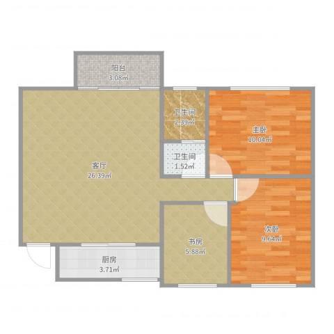 青年城3室1厅2卫1厨78.00㎡户型图