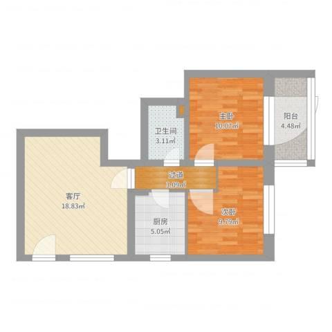 西罗园南里38号楼604室2室1厅1卫1厨73.00㎡户型图