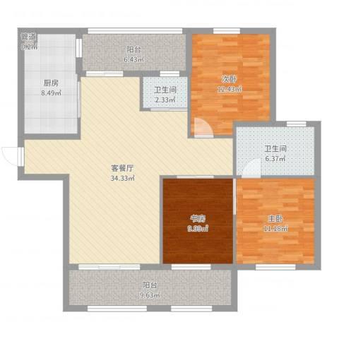 东方新天地3室2厅2卫1厨127.00㎡户型图