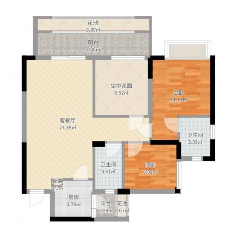 东城四季2室2厅2卫1厨97.00㎡户型图