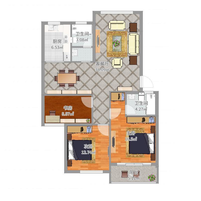 东城华园115三室两卫