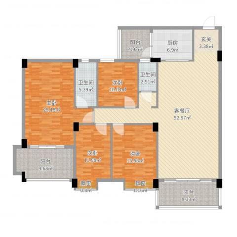 丽景华庭4室2厅2卫1厨192.00㎡户型图