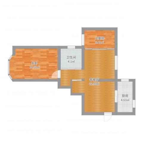 临沂大楼2室2厅1卫1厨64.00㎡户型图