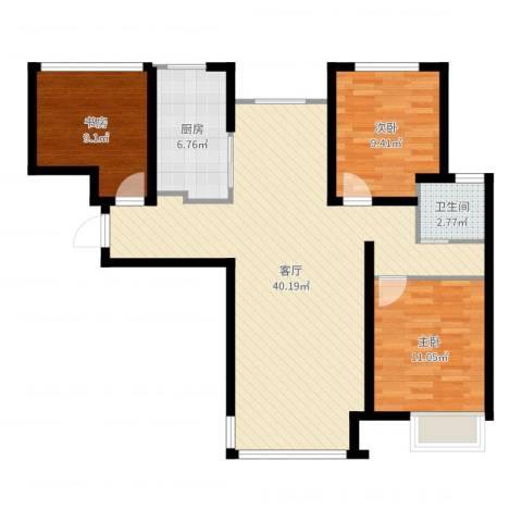 潮白河孔雀城剑桥郡3室1厅1卫1厨99.00㎡户型图