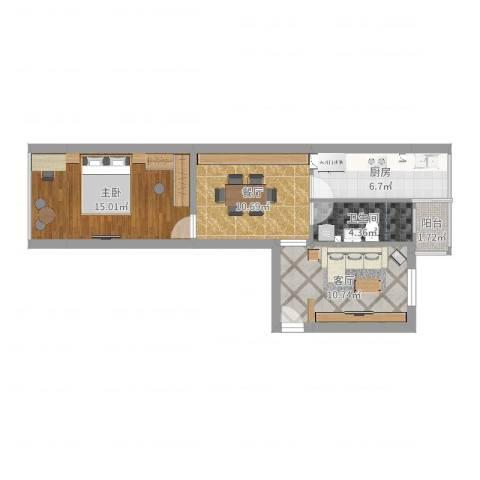 富国里小区1室2厅1卫1厨62.00㎡户型图