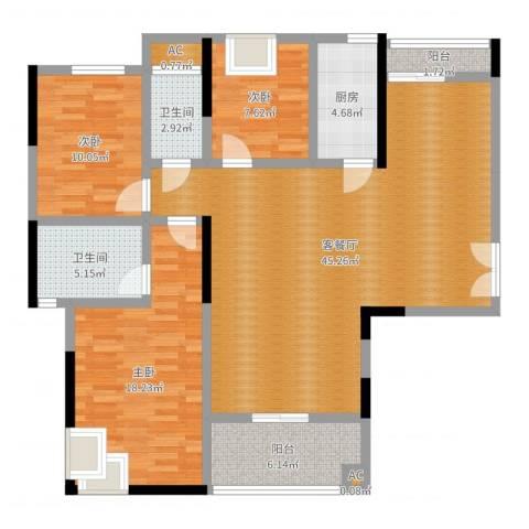 锦绣银湾3室2厅2卫1厨128.00㎡户型图