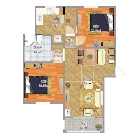 南苑六村2室2厅1卫1厨76.00㎡户型图