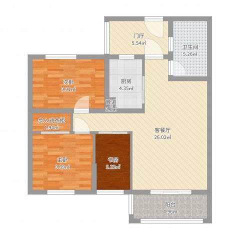 易居公馆3室2厅1卫1厨91.00㎡户型图