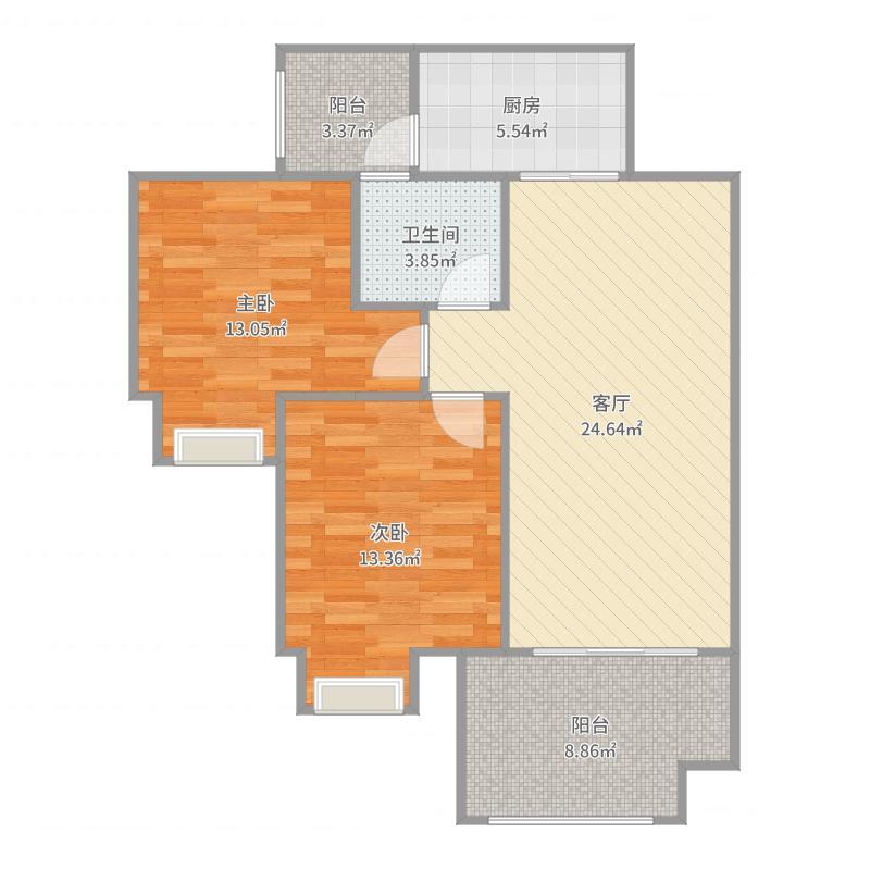 美利山公园城市·高层183栋标准层D2户型