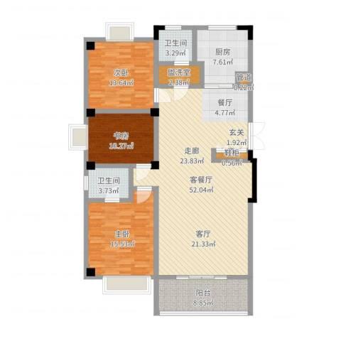亚华新城邦・雅轩3室2厅2卫1厨148.00㎡户型图