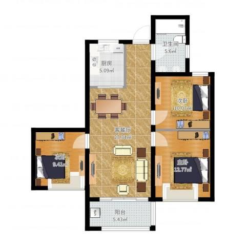 国耀星达城3室2厅1卫1厨95.00㎡户型图
