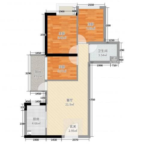万科・珠江东岸3室1厅1卫1厨73.00㎡户型图