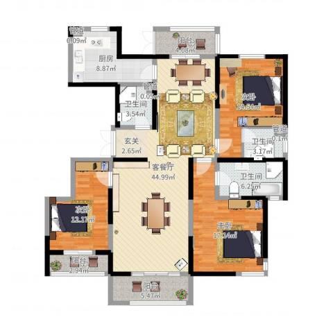 滨河湾城市花园3室2厅3卫1厨154.00㎡户型图