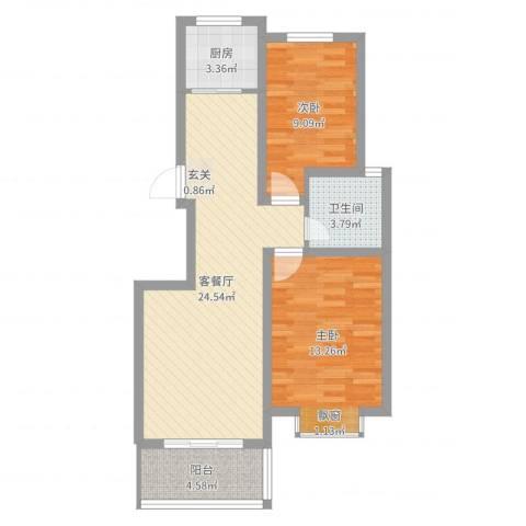 荣基春城2室2厅1卫1厨73.00㎡户型图
