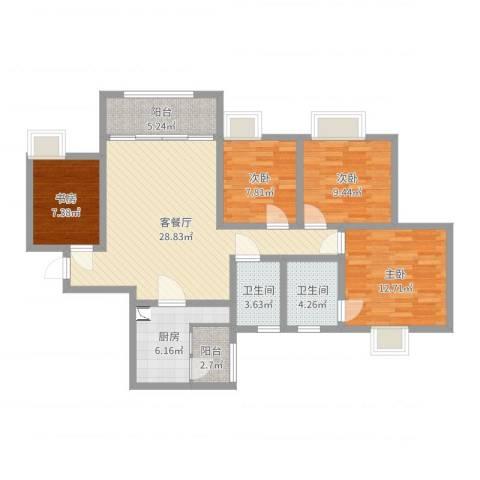 樽憬财富广场4室2厅2卫1厨110.00㎡户型图