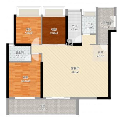 万科彩园3室2厅2卫1厨123.00㎡户型图