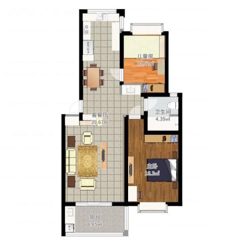 双湖明珠2室2厅1卫1厨97.00㎡户型图