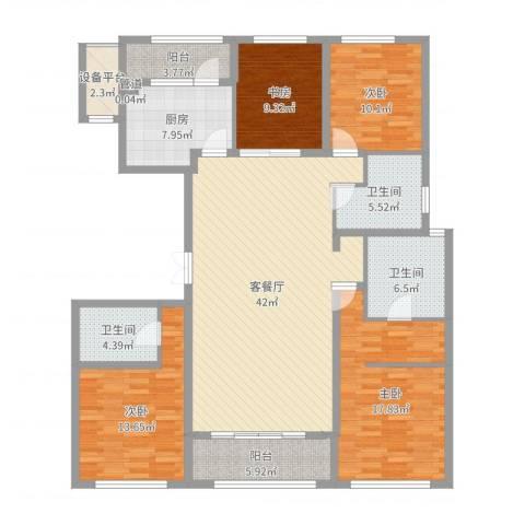 九龙仓国宾1号国宾山4室2厅3卫1厨162.00㎡户型图