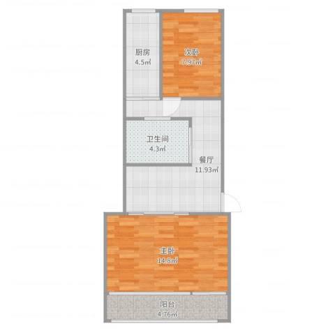 西什库小区2室1厅1卫1厨60.00㎡户型图