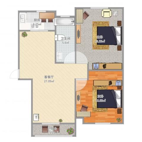 河畔花城2室2厅1卫1厨92.00㎡户型图