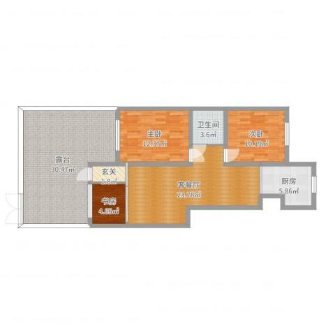 蓝堡湾3室2厅1卫1厨116.00㎡户型图