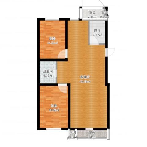 昊景家园2室2厅2卫2厨102.00㎡户型图