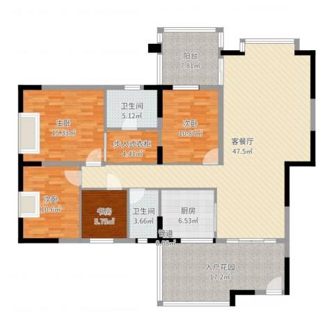 金田苑4室2厅2卫1厨169.00㎡户型图