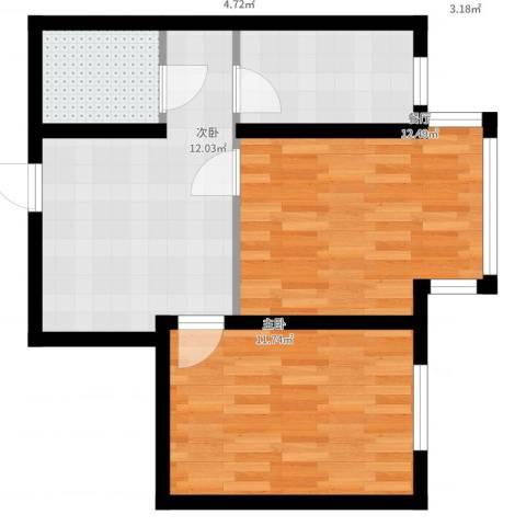宜家观澜2室1厅1卫1厨55.00㎡户型图