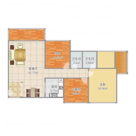 三远大爱城3室2厅2卫1厨135.00㎡户型图