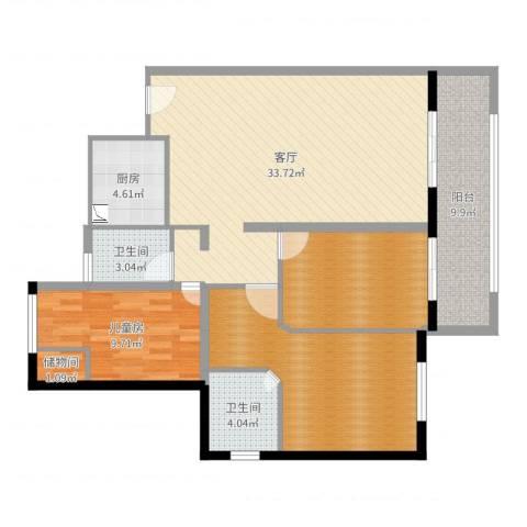 东石钻石海岸1室1厅2卫1厨116.00㎡户型图