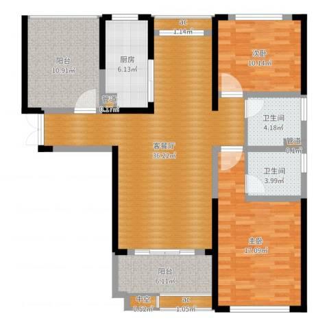 中科苑2室2厅2卫1厨122.00㎡户型图