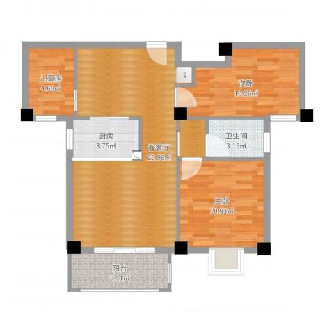 绿苑水岸名筑3室2厅2卫1厨82.00㎡户型图