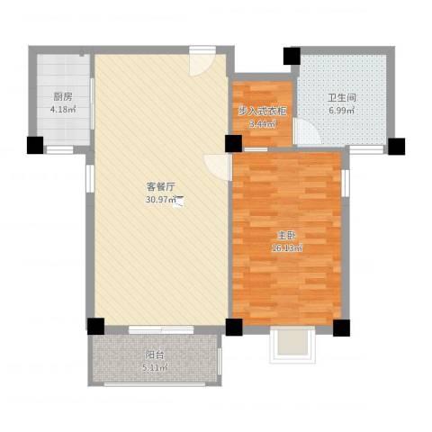 绿苑水岸名筑1室2厅1卫1厨84.00㎡户型图