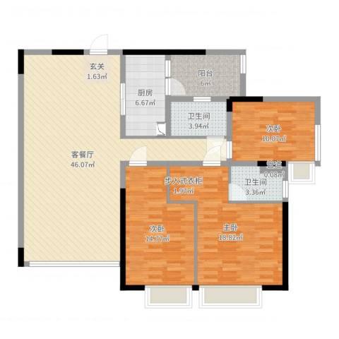 海湾新家园3室2厅2卫1厨137.00㎡户型图