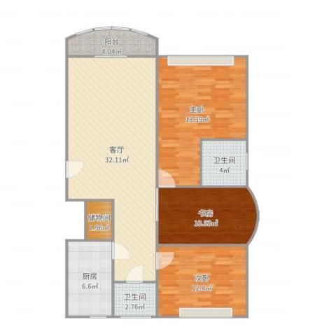 维多利华庭3室1厅2卫1厨116.00㎡户型图